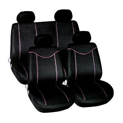 10PC BLACK & PINK CAR SEAT COVERS RACING STYLE COVER SET - AIRBAG FRIENDLY