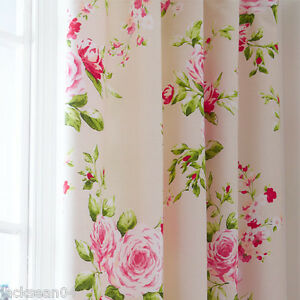 Image Is Loading RED PINK ROSE FLORAL PENCIL PLEAT LINED COTTON