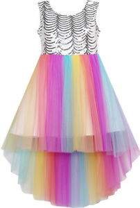 Sunny-Fashion-Girls-Dress-Sequin-Mesh-Party-Wedding-Princess-Tulle-Size-7-14