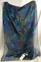 Elaine Gold For Collection Xiix Floral Scarf 100% Silk With Tags Blue Green