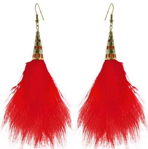 F3409 VOGUE RED Feather Trompette Mignon Dangle Earrings Hot vendre Bijoux
