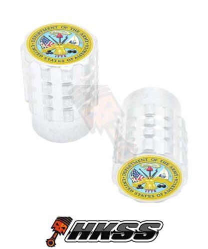 USA ARMY LOGO M N1F 2 Silver Billet Aluminum Knurled Tire Air Valve Stem Caps