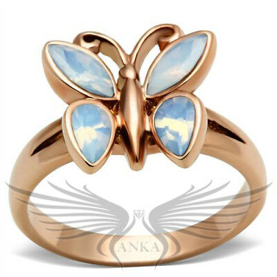 Epoxy Layerd Butterfly Shaped Rose Gold Ion Plated IP Fashion Ring GL194