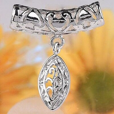 30pcs Silver Plated Leaves Hollow Decorated Pendant Pinch Bail PB28