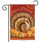 Give Thanks Turkey Garden Flag Thanksgiving Pumpkins Pears 12.5