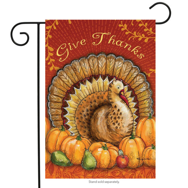 Thanksgiving Give Thanks Turkey Flag 12 X 18 Mildew Fade Resistant For Sale Online Ebay