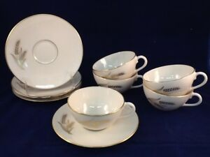 Lenox-Wheat-R-442-Tea-Cup-amp-Saucer-Sets-Lot-of-5-sets