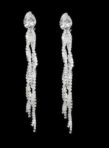 Longues Boucles d/'oreilles  Clips  11 cm Bijoux Strass Pour Soirée Mariage