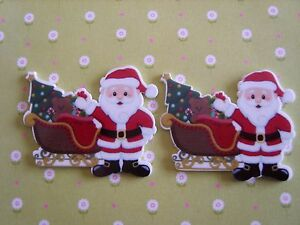 2 X CHRISTMAS THEME PACKS~SANTA,REINDEER,CHRISTMAS TREES CARD TOPPERS