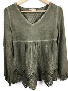 Altar-039-d-State-Top-S-Small-Lace-Embroidered-Boho-V-Neck-Olive-Green-Shirt-B3