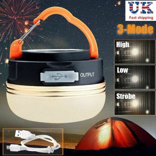 USB Rechargeable LED Camping Tent Fishing Night Lamp Light Portable Outdoor UK