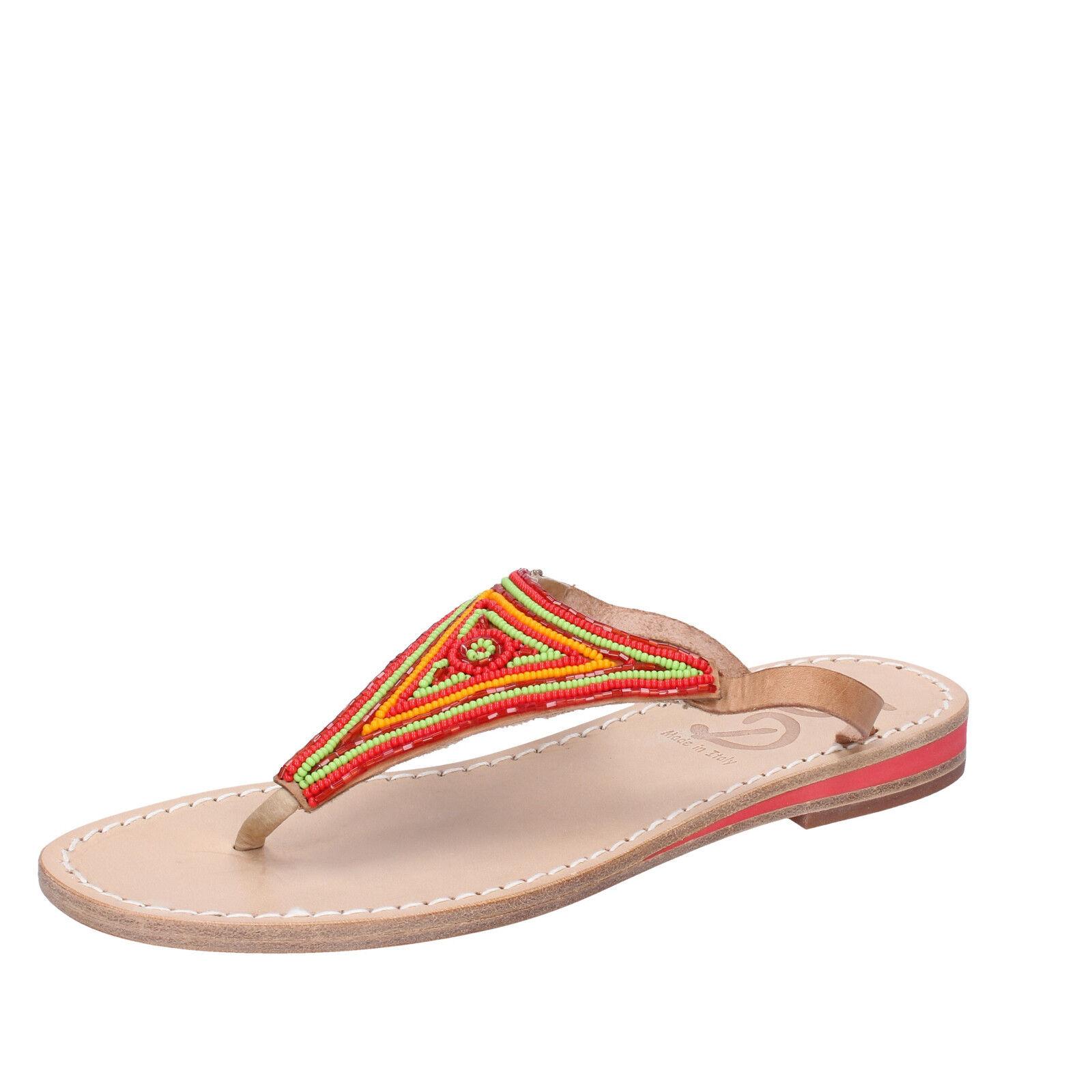 Scarpe donna EDDY multicolore DANIELE 37 EU sandali multicolore EDDY pelle perline AS176 f8fb59