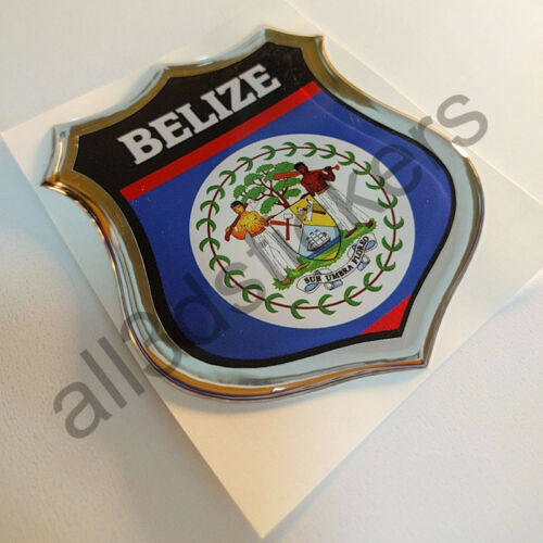 Sticker Belize Emblem 3D Resin Domed Gel Belize Flag Vinyl Decal Car Laptop