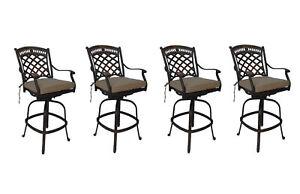 Cast-aluminum-patio-bar-stools-set-of-4-swivels-outdoor-seating-Sunbrella