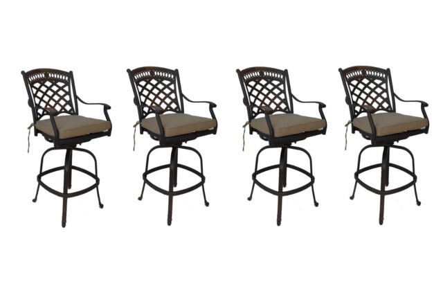 Terrific Cast Aluminum Patio Bar Stools Set Of 4 Swivels Outdoor Seating Sunbrella Spiritservingveterans Wood Chair Design Ideas Spiritservingveteransorg