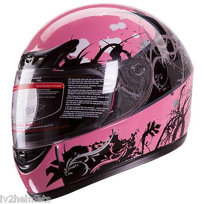 Gloss Pink Japanese Style Full Face Street Bike Motorcycle Helmet DOT Size:S,M,L