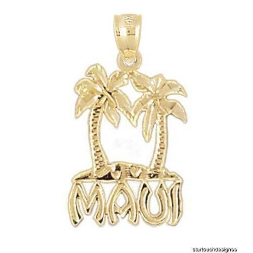New 14k Yellow gold Maui Hawaii Island Pendant