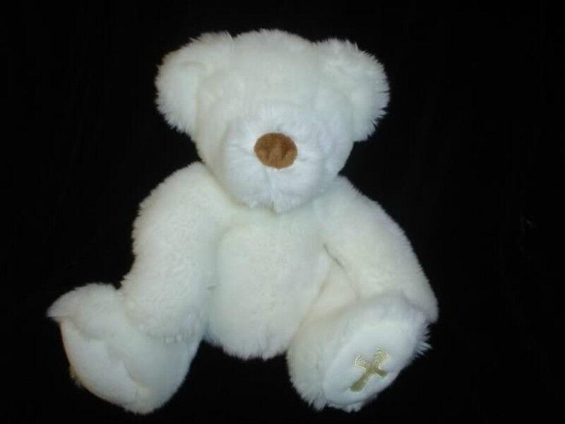 Russ Berrie Believe Bear Golden Cross 20181 Weiß Plush