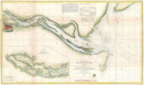1855 Coastal Survey map Nautical Chart the Savanna River Georgia