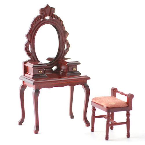 Dolls House Miniature Dressing Table /& Stool Bedroom Furniture 1:12th Scale