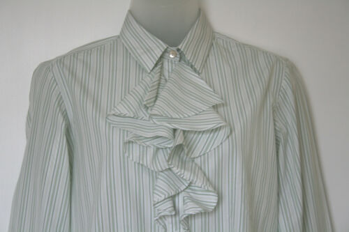White Blouse green Aquascutum Striped Eu38 Uk10 Frill 40 Front Medium 12 nqrwFvxBrX