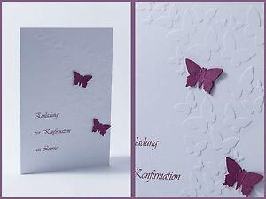 Das Bild Wird Geladen Einladung Einladungskarte Schmetterling  Kommunion Konfirmation Taufe Danksagung