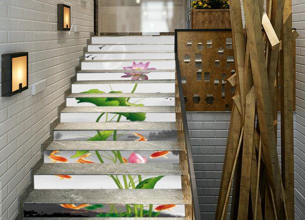 3D Lotus Karpfen 601Stair Risers Dekoration Fototapete Vinyl Aufkleber Tapete DE
