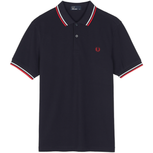 Fred Perry Men's Short Sleeve Twin Tipped Polo Shirt Navy / White / Red M3600  M