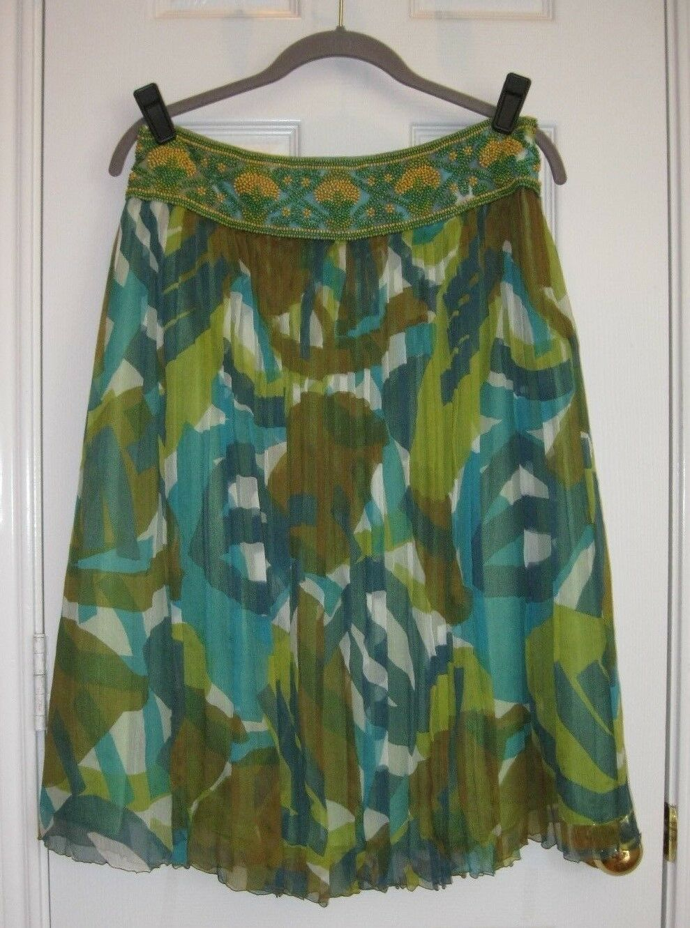 LAFAYETTE 148 Gorgeous Beaded Waist Silk Gauze Skirt  SZ 8