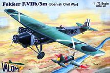 FOKKER F VII b/3M SPANISH CIVIL WAR (NATIONALIST & REPUBLICAN MKGS) 1/72 VALOM