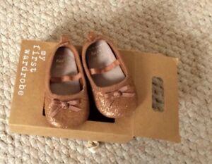 4aea72142b8 Image is loading Designer-Next-Gold-Bronze-Baby-Girls-Shoes-Size-