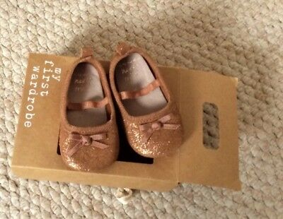 Gold Bronze Baby Girls Shoes, Size