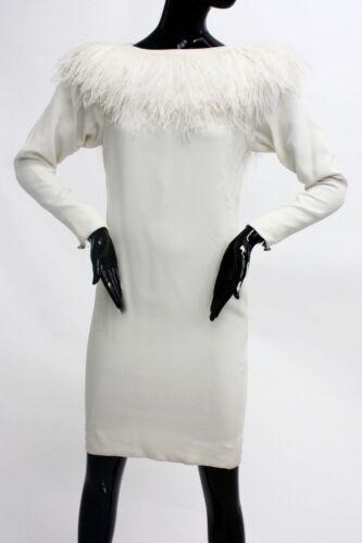 Vintage 1960s Marabou collar dress
