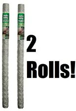 """2 rolls 308466B 48"""" x 25'  2"""" Mesh Poultry Netting Chicken Wire Fence Fencing"""