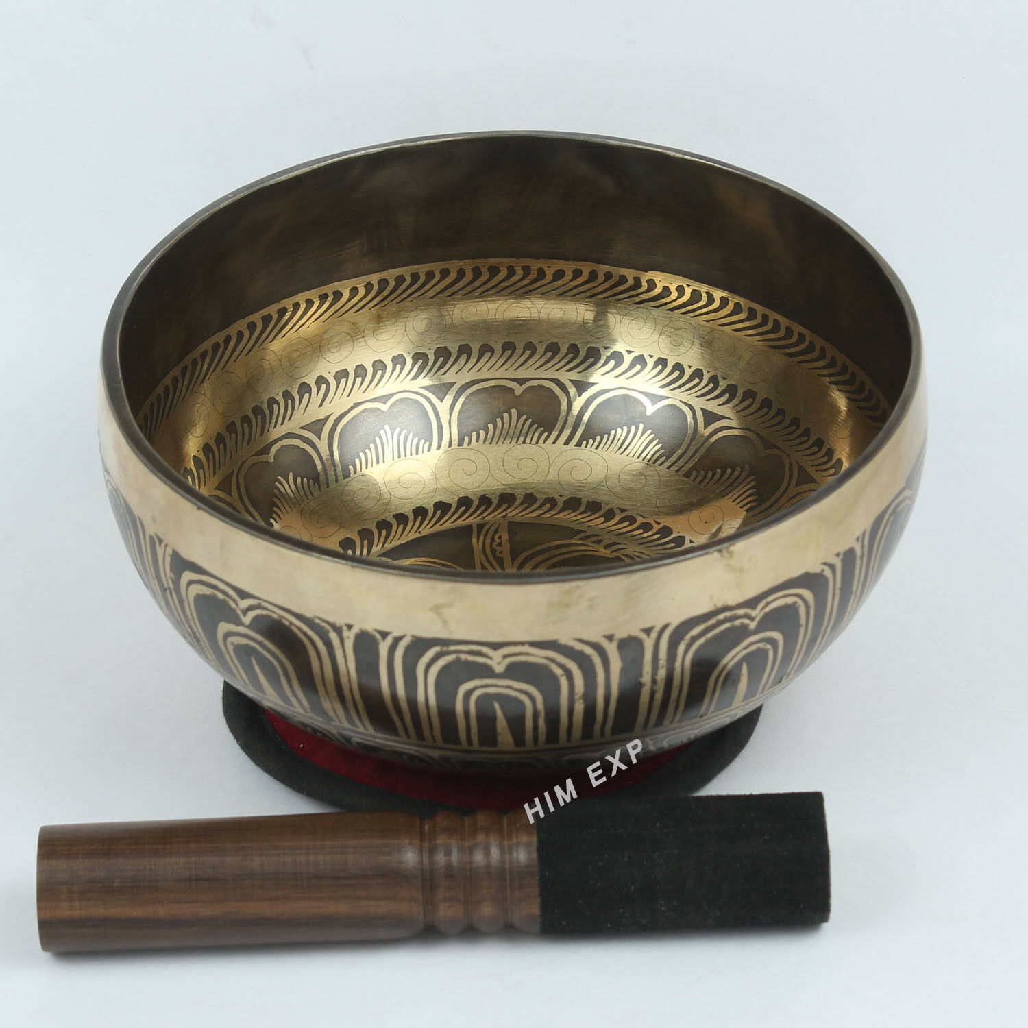 Symbols Carved  Meditation and  Healing 7 Metal  Singing Bowl from Nepal