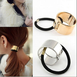 Unique Women Hair Cuff Wrap Ponytail Metal Holder Ring Tie Elastic ... caf1354157b