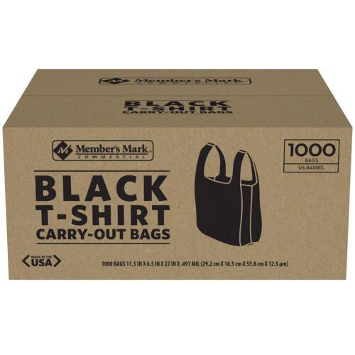 Member/'s Mark Black T-Shirt Carryout Bags 1,000 ct.
