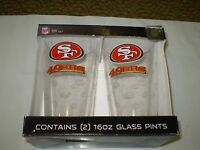 San Francisco 49 Ers Nfl Team Etched Pint Glass Gift Set (2)16 Oz. Glass Pints