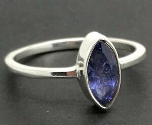 19649c281 Real tanzanite Gemstone marquise Ring, UK size S (large) solid ...