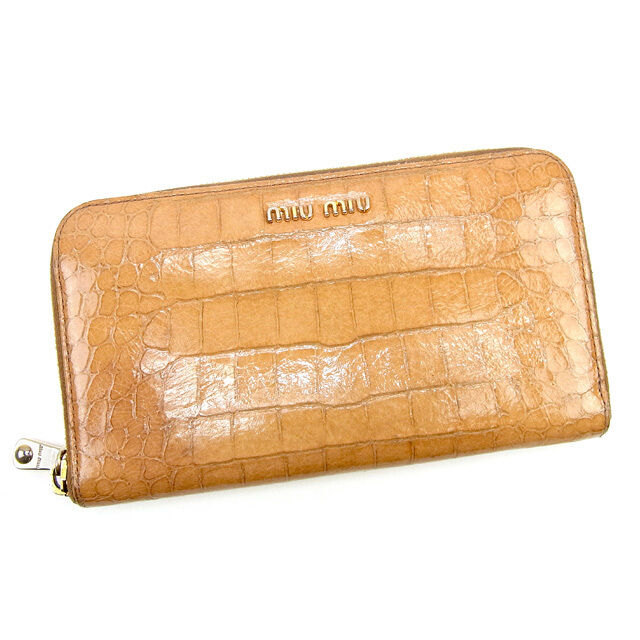 miumiu Wallet Purse Long Wallet Beige Gold Woman Authentic Used T187