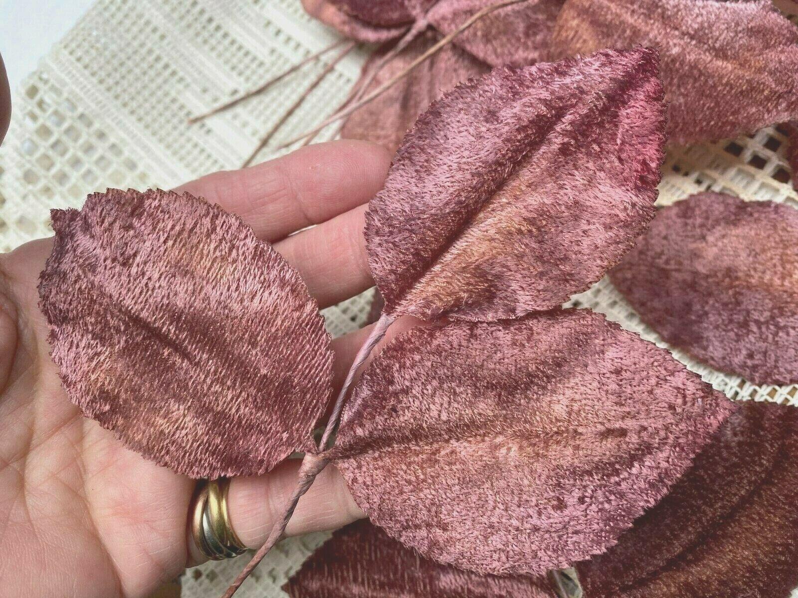 Vintage Millinery 1940s Velvet Tri Leaves Hand Wrapped Deep Rose 1 Spray Japan