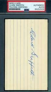 Clark-Griffith-PSA-DNA-Coa-Autograph-Hand-Signed-3x5-Index-Card