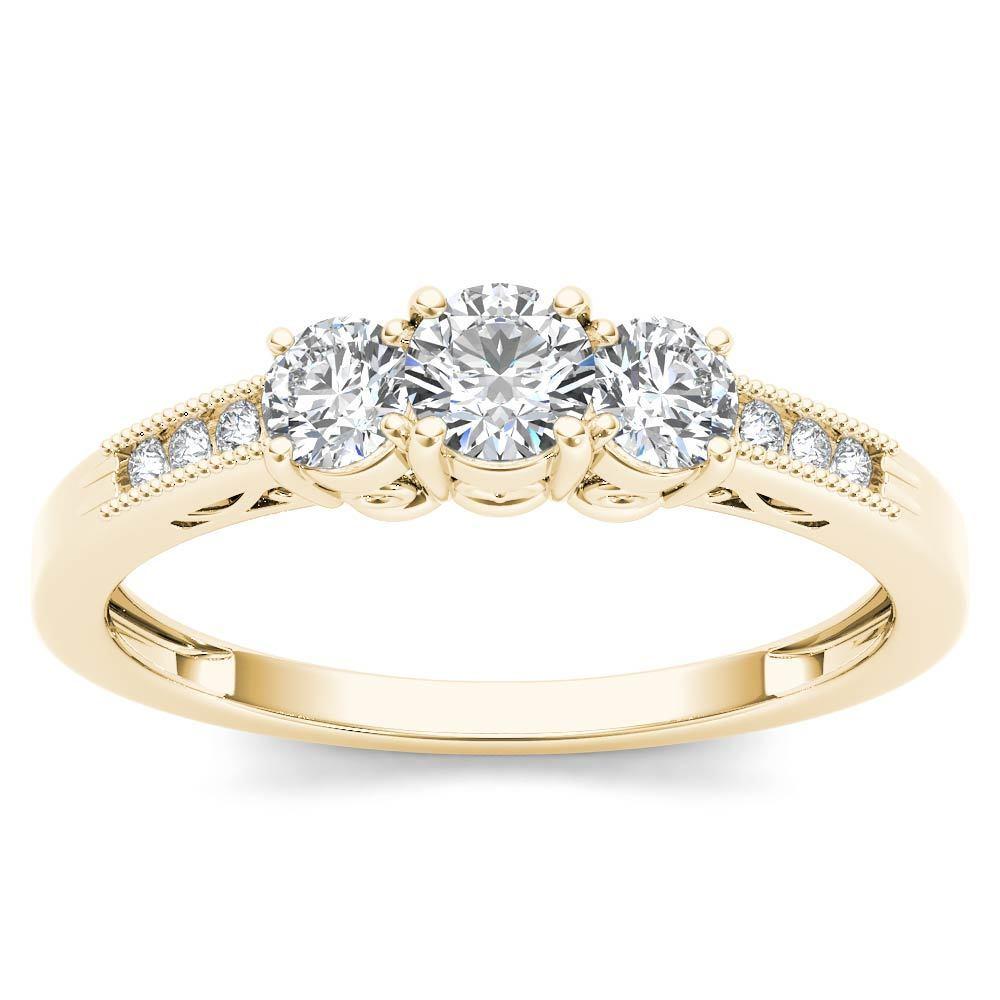 14k Yellow gold 0.50Ct Natural ThreeStone Diamond Engagemet Ring