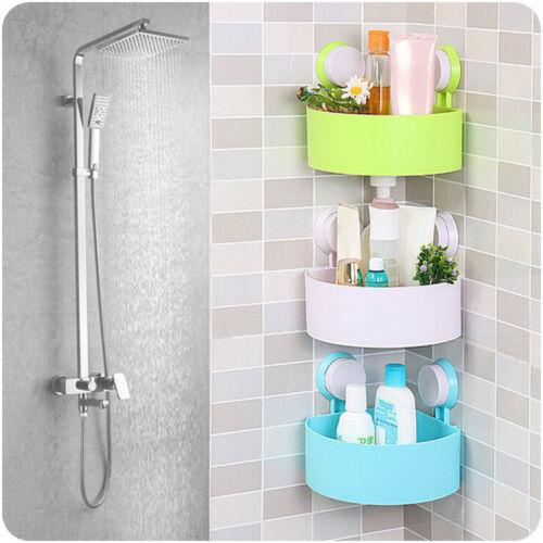 Bathroom Corner Storage Shower Rack Shelf Organiser Basket Cup Tidy With Suction