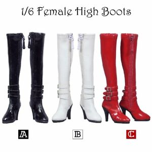 1:6 Zip Up Knee-high Boots Shoes for 12/'/' Hot Toys Phicen Action Figure Body