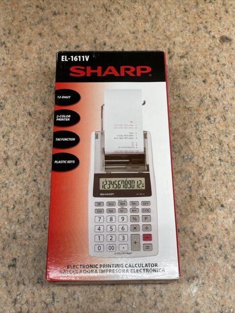Sharp EL-1611V Handheld Portable Cordless 12 Digit Large LCD Display printing
