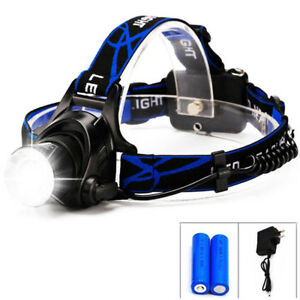 New-6000LM-LED-Focus-Headlight-Head-Lamp-Zoom-2Pcs-Batteries-Charger