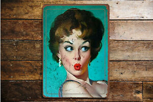 Opps-Shocked-Pout-Pinup-VINTAGE-ENAMEL-METAL-TIN-SIGN-WALL-PLAQUE-d8cfb80b