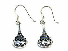 New Ladies Sterling Silver Filigree Drop Blobs Earrings 35mm 925 Hallmarked