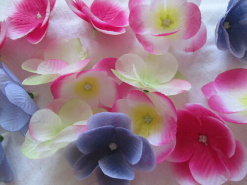 30 bunte Hortensie Dekoblüten Blätter 6cm Künstliche Kunst Seiden Blumen Köpfe